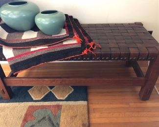 STICKLEY NEW WOVEN LEATHER BENCH $450