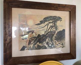 MILLARD SHEETS THE MOUNTAIN 1200.00 wood block print California Scene Painting Artist