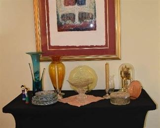 MCM Art, Glass Modern Vases, Depression Plates, Asian Figures  Dishes, Anniversary Clock