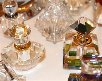 Crystal Perfume Bottles, some brand new, unopened in plastic