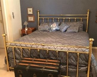King size metal headboard/ footboard and mattress Antique trunk