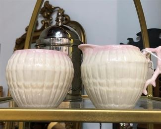 Belleek creamer and sugar
