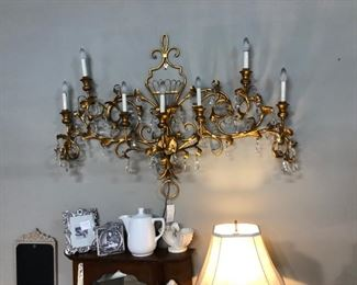 large brass lighted candelabra
