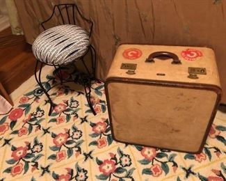 vintage stool and suitcase