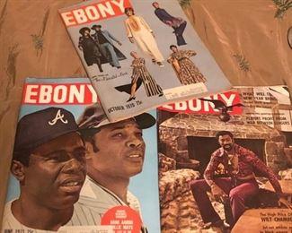 vintage 1970's ebony magazines.  Wilt Chamberlin Hank Aaron