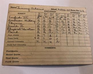 1950s high school report card
