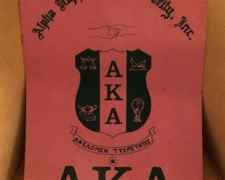 vinage alpha kappa alpha hand painted sign on metal