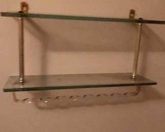 vintage lucite and glass shelf