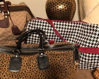 leopard and houndstooth overnight bags