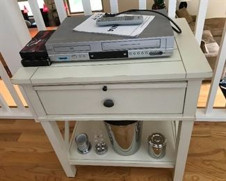 White Side Table with Drawer, DVD/VHS combo