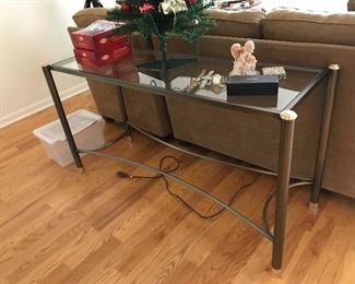 Contemporary Glass and Metal Sofa Table