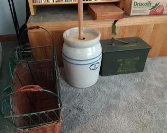Magazine rack butter churn and ammo military
