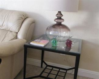 Slate and metal end tables with matching coffee table