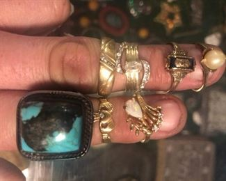 10k & 14K Rings (one Sterling and Turquoise)