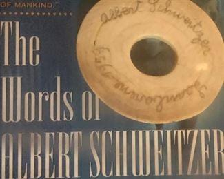 """Nobel Prize Winner Albert Schweitzer Autograph in """"bone?"""" very RARE Autograph to get - Nobel Piece Prize winner"""