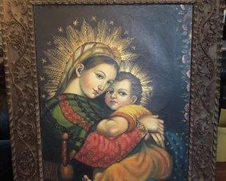 Very old Russian(?) Icon painting - very skillfully Painted by a master artist and framed in a German Black Forest Frame - cannot find the signature.