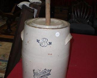 # gal. Western stoneware butter churn