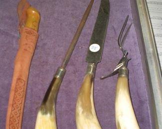 horn handled cutlery set