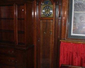 Sligh 3 weight grandfather clock with moon register face