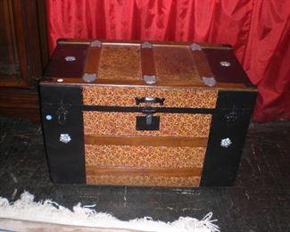 tembossed tin trunk c.1880