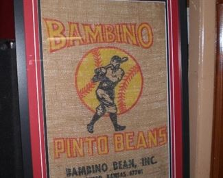 Bambino(Babe Ruth) pinto beans burlap bag framed
