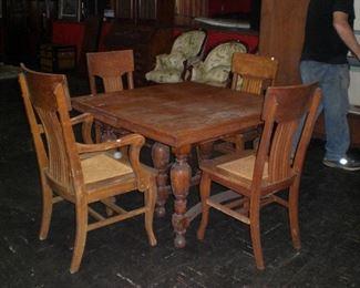 6 leg oak dinning table, set of 4 oak chairs