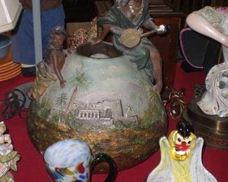 lg. Austrian terra cotta vase as found
