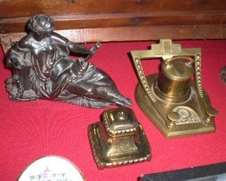 spelter clock figure, inkwells