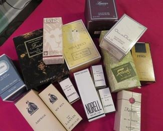 Great collection of many unopened - and some opened - vintage pure perfumes and eau de toilettes.