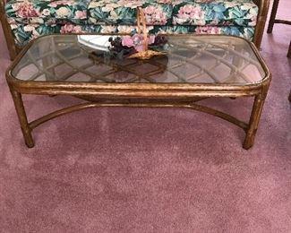 Lane Sofa & Rattan coffee table set
