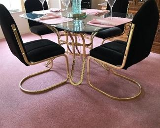 Glass tops brass frame chairs dining room set 60.5 x 40
