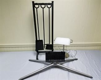 Fireplace Tools, Lamp, and Television Stand