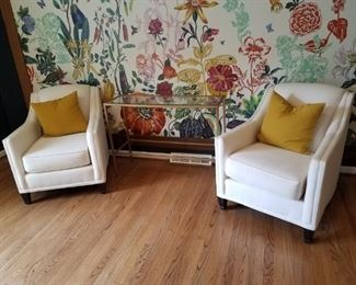Cream Colored Upholstered Chairs with Glass and Gold Tone Metal Console Table
