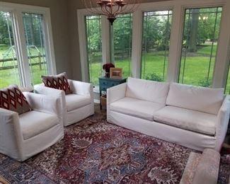 Arhaus Slip-Covered Sofa and Swivel Chairs