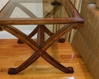 X Glass  topped end Table