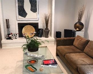 Sectional, glass and brass coffee table, MOD ceramics, framed prints and more