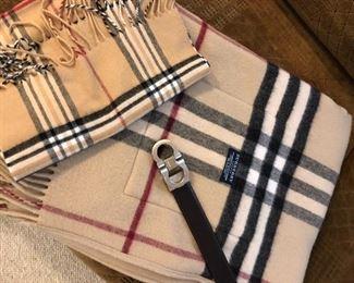 Burberry scarves and Ferragamo belt