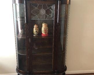 Curved glass mahogany curio cabinet