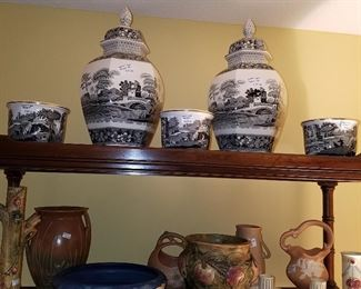 Top: Spode Italian Tower.  Bottom: Weller, and other pottery