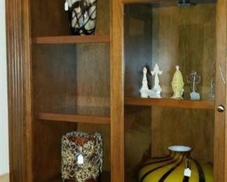 glassware in hutch