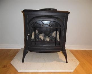 Black Cast Iron Fire Stove, Electric,  on Marble stand