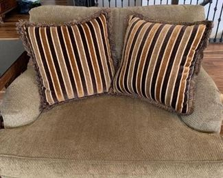 Sofa, Loveseat, Chair, and Footstool - Brown tones