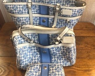 Coach travel bag, purse and cosmetic bag