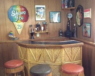 Vintage Tiki bar- bamboo and rattan