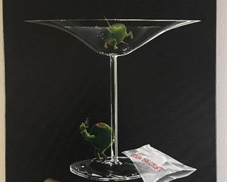 Michael Goddard, Mystery Martini Giclee on canvas.        159/300. Signed by artist and personallly inscribed on back