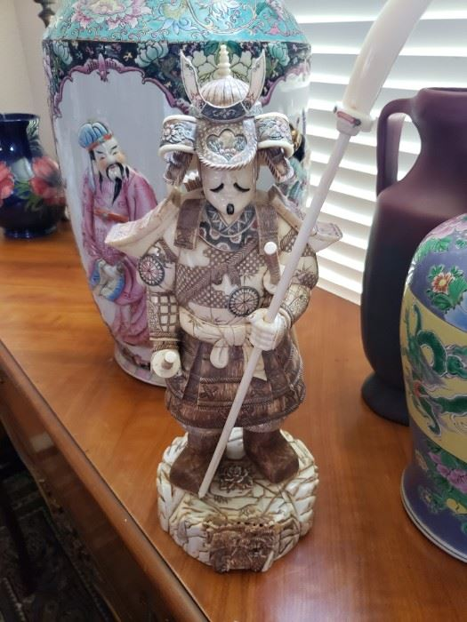 Signed  Bone Antique Japanese Okimono of a Samurai Warrior
