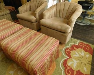 mid century club chairs with ottomans (priced individually)