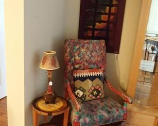 Art chair, ceramic tree lamp, wood art table, Heather Allen cloth artwork