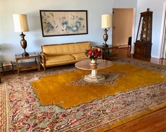 Vintage home furnishings including this huge area rug