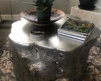 Silvered tree trunk coffee table for sale.